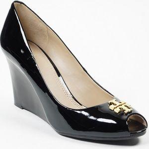 Tory Burch Jade Patent Leather Peep Toe Wedge